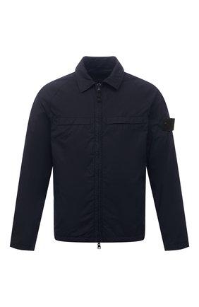 Мужская хлопковая куртка STONE ISLAND темно-синего цвета, арт. 7415119F4   Фото 1 (Материал внешний: Хлопок; Кросс-КТ: Куртка, Ветровка; Стили: Кэжуэл; Рукава: Длинные; Материал подклада: Синтетический материал; Длина (верхняя одежда): Короткие)