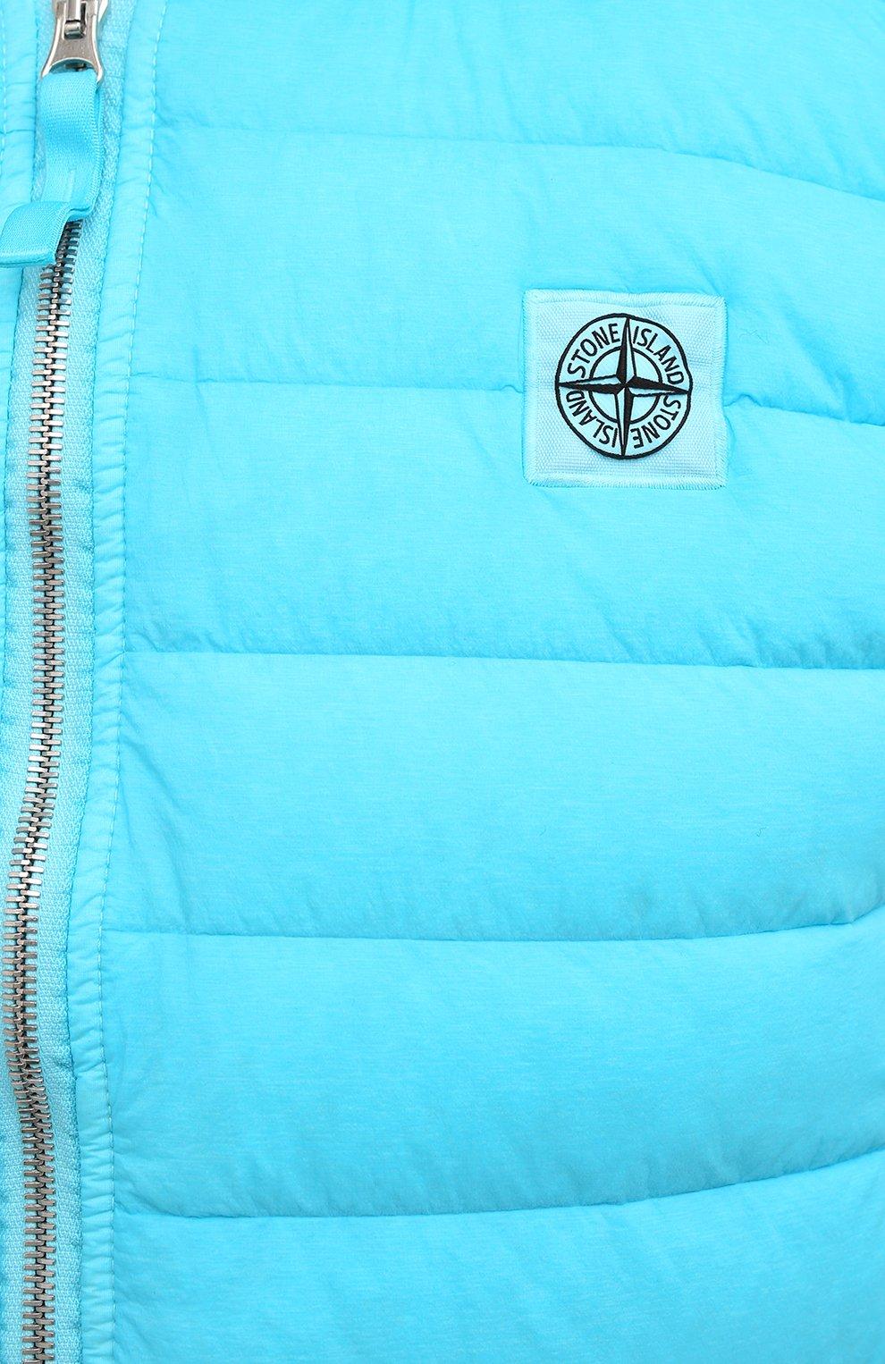 Мужской пуховый жилет STONE ISLAND бирюзового цвета, арт. 7415G0225   Фото 5 (Кросс-КТ: Куртка, Пуховик; Материал внешний: Синтетический материал; Стили: Гранж; Материал подклада: Синтетический материал; Длина (верхняя одежда): Короткие; Материал утеплителя: Пух и перо)