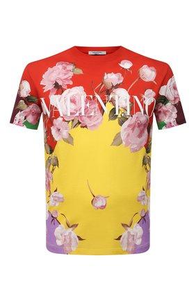 Мужская хлопковая футболка VALENTINO разноцветного цвета, арт. VV0MG09S7EP | Фото 1 (Длина (для топов): Стандартные; Материал внешний: Хлопок; Принт: С принтом; Стили: Романтичный; Рукава: Короткие)