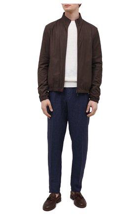 Мужские льняные брюки ERMENEGILDO ZEGNA синего цвета, арт. UUI32/TT11 | Фото 2