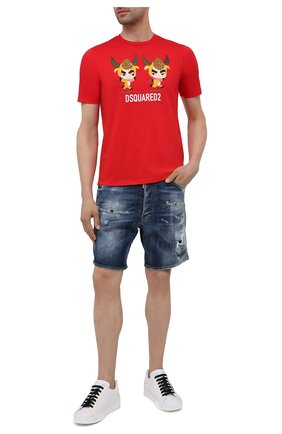 Мужская хлопковая футболка DSQUARED2 красного цвета, арт. S75GD0198/S23009   Фото 2