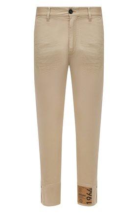 Мужские хлопковые брюки DSQUARED2 бежевого цвета, арт. S71KB0360/S39021 | Фото 1 (Материал внешний: Хлопок; Стили: Кэжуэл; Силуэт М (брюки): Чиносы; Случай: Повседневный; Длина (брюки, джинсы): Стандартные)
