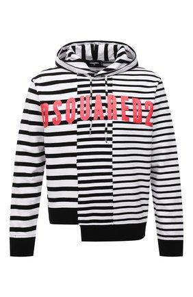 Мужской хлопковое худи DSQUARED2 черно-белого цвета, арт. S71GU0441/STJ329 | Фото 1 (Материал внешний: Хлопок; Рукава: Длинные; Длина (для топов): Стандартные; Мужское Кросс-КТ: Худи-одежда; Принт: С принтом; Стили: Гранж)
