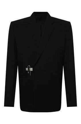 Мужской шерстяной пиджак GIVENCHY черного цвета, арт. BM30AR11PP | Фото 1