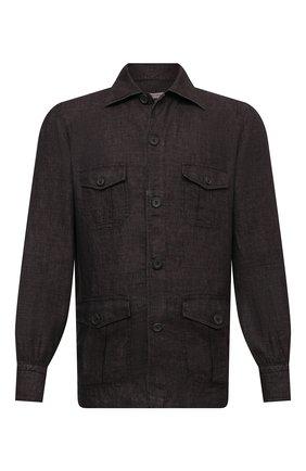 Мужская льняная рубашка FIORONI темно-коричневого цвета, арт. MCV22502G1 | Фото 1