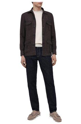 Мужская льняная рубашка FIORONI темно-коричневого цвета, арт. MCV22502G1 | Фото 2