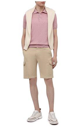 Мужское поло изо льна и хлопка FIORONI розового цвета, арт. MK20701C1 | Фото 2 (Рукава: Короткие; Материал внешний: Хлопок, Лен; Стили: Романтичный; Кросс-КТ: Трикотаж; Длина (для топов): Стандартные; Застежка: Пуговицы)