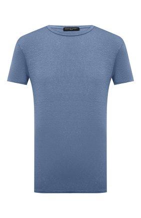 Мужская льняная футболка DANIELE FIESOLI синего цвета, арт. DF 7110 | Фото 1 (Материал внешний: Лен; Стили: Кэжуэл; Рукава: Короткие; Принт: Без принта; Длина (для топов): Стандартные)