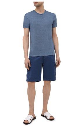 Мужская льняная футболка DANIELE FIESOLI синего цвета, арт. DF 7110 | Фото 2 (Материал внешний: Лен; Стили: Кэжуэл; Рукава: Короткие; Принт: Без принта; Длина (для топов): Стандартные)