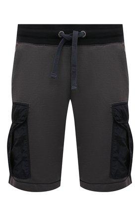 Мужские шорты PARAJUMPERS темно-серого цвета, арт. FN14/IRVINE | Фото 1 (Длина Шорты М: До колена; Кросс-КТ: Трикотаж; Материал внешний: Хлопок, Синтетический материал; Принт: Без принта; Стили: Спорт-шик)