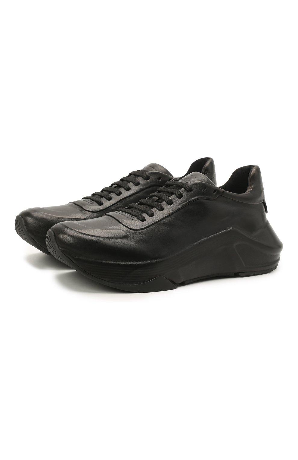 Мужские кожаные кроссовки GIORGIO ARMANI черного цвета, арт. X2X134/XF509   Фото 1
