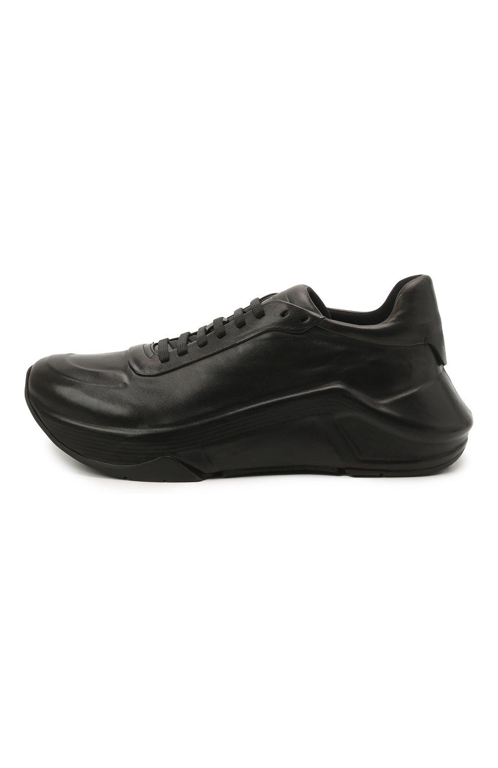 Мужские кожаные кроссовки GIORGIO ARMANI черного цвета, арт. X2X134/XF509   Фото 3
