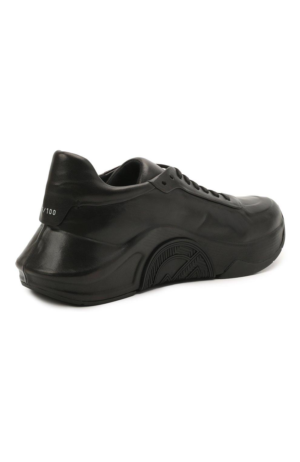 Мужские кожаные кроссовки GIORGIO ARMANI черного цвета, арт. X2X134/XF509   Фото 4