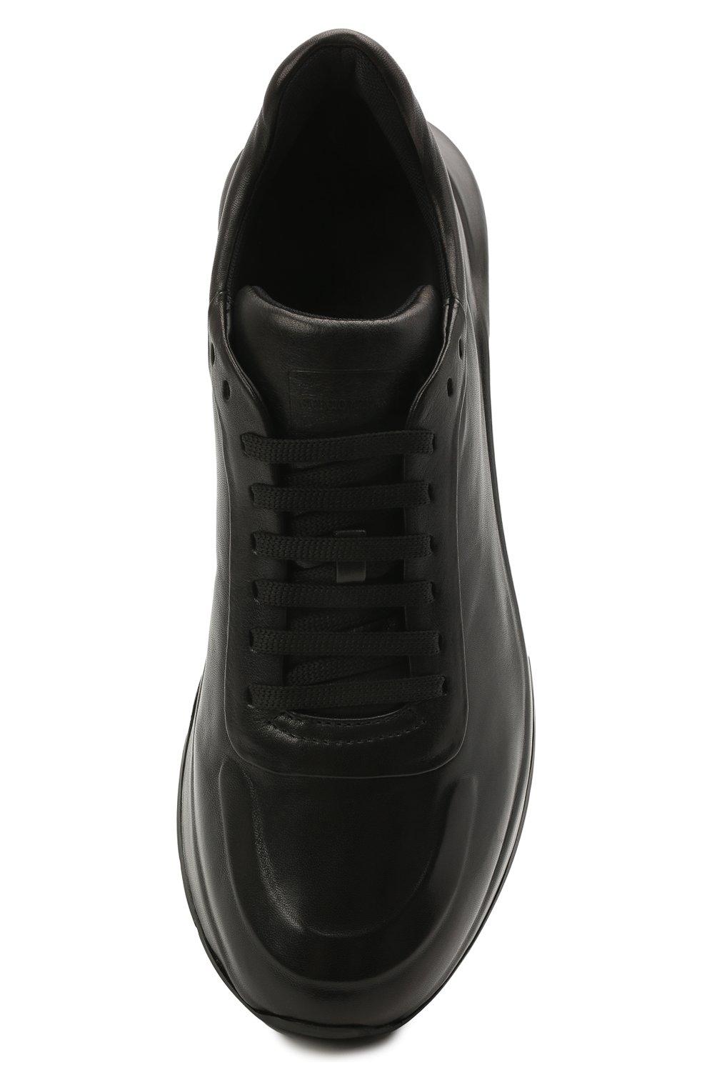 Мужские кожаные кроссовки GIORGIO ARMANI черного цвета, арт. X2X134/XF509   Фото 5