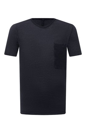 Мужская футболка TRANSIT темно-синего цвета, арт. CFUTRN4391 | Фото 1 (Материал внешний: Растительное волокно; Принт: Без принта; Длина (для топов): Стандартные; Стили: Кэжуэл; Рукава: Короткие)