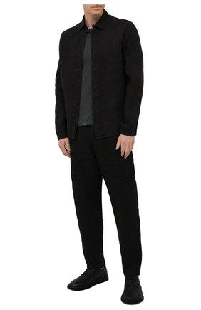 Мужская футболка TRANSIT темно-серого цвета, арт. CFUTRN4391 | Фото 2 (Материал внешний: Растительное волокно; Рукава: Короткие; Длина (для топов): Стандартные; Принт: Без принта; Стили: Минимализм)