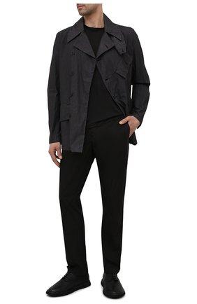 Мужские хлопковые брюки TRANSIT черного цвета, арт. CFUTRNB110 | Фото 2 (Случай: Повседневный; Длина (брюки, джинсы): Стандартные; Силуэт М (брюки): Чиносы; Материал внешний: Хлопок; Стили: Минимализм)