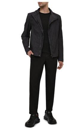 Мужские хлопковые брюки TRANSIT черного цвета, арт. CFUTRNB111 | Фото 2