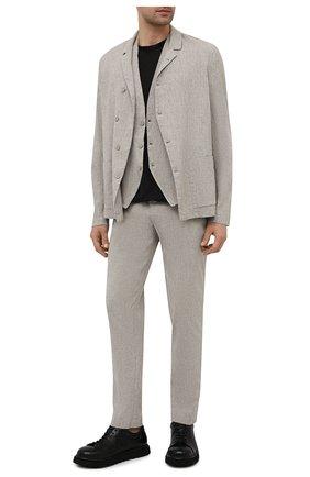 Мужские брюки изо льна и вискозы TRANSIT светло-серого цвета, арт. CFUTRNI180 | Фото 2