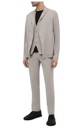 Мужской пиджак изо льна и вискозы TRANSIT светло-серого цвета, арт. CFUTRNI181 | Фото 2