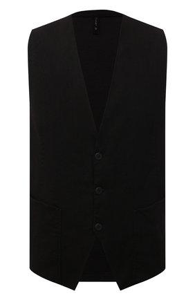 Мужской жилет изо льна и вискозы TRANSIT черного цвета, арт. CFUTRNI182 | Фото 1
