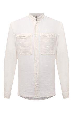 Мужская рубашка из хлопка и льна TRANSIT белого цвета, арт. CFUTRNX330 | Фото 1