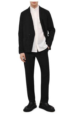 Мужская рубашка из хлопка и льна TRANSIT белого цвета, арт. CFUTRNX330 | Фото 2