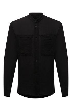 Мужская рубашка из хлопка и льна TRANSIT черного цвета, арт. CFUTRNX330 | Фото 1