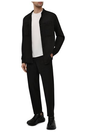 Мужская рубашка из хлопка и льна TRANSIT черного цвета, арт. CFUTRNX330 | Фото 2