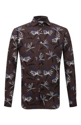 Мужская льняная рубашка BAGUTTA коричневого цвета, арт. ANDREA_EBLW/11183 | Фото 1