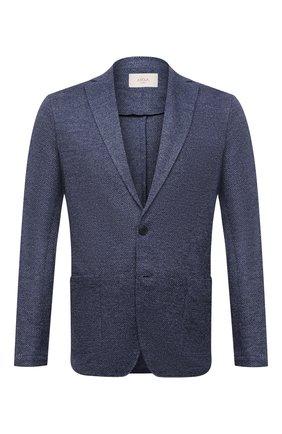 Мужской льняной пиджак ALTEA синего цвета, арт. 2152302 | Фото 1