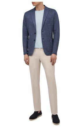 Мужской льняной пиджак ALTEA синего цвета, арт. 2152302 | Фото 2