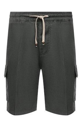 Мужские льняные шорты ALTEA темно-зеленого цвета, арт. 2153208 | Фото 1