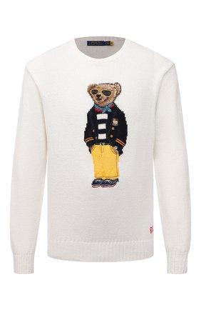 Мужской свитер изо льна и хлопка POLO RALPH LAUREN белого цвета, арт. 710834686 | Фото 1