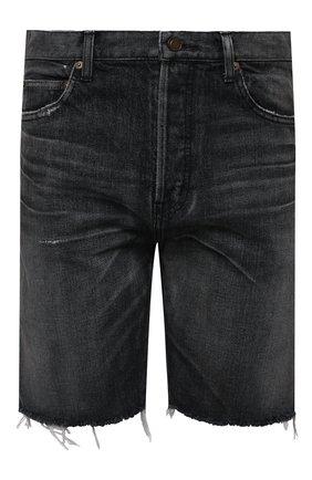 Мужские джинсовые шорты SAINT LAURENT темно-серого цвета, арт. 638547/Y07KB | Фото 1 (Длина Шорты М: До колена; Кросс-КТ: Деним; Принт: Без принта; Материал внешний: Хлопок, Деним; Стили: Гранж)