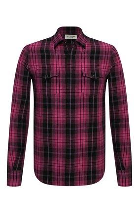 Мужская рубашка из вискозы и льна SAINT LAURENT фуксия цвета, арт. 601892/Y01ZA | Фото 1 (Воротник: Кент; Стили: Гранж; Принт: Клетка; Манжеты: На кнопках; Случай: Повседневный; Рукава: Длинные; Длина (для топов): Стандартные; Материал внешний: Вискоза)
