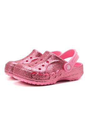 Детские сабо baya glitter CROCS розового цвета, арт. 205911-669   Фото 1