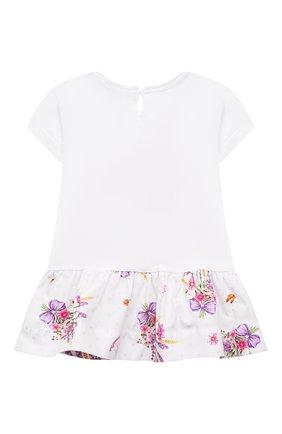 Женский хлопковое платье MONNALISA белого цвета, арт. 317914PJ | Фото 2