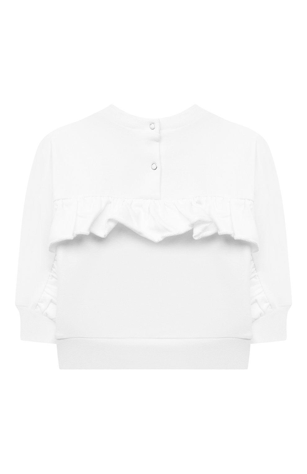 Детский хлопковый свитшот MONNALISA белого цвета, арт. 397618RE   Фото 2