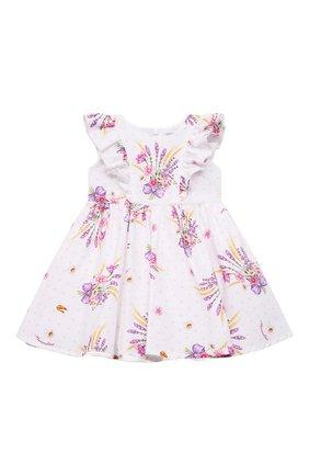 Женский хлопковое платье MONNALISA белого цвета, арт. 317912 | Фото 1