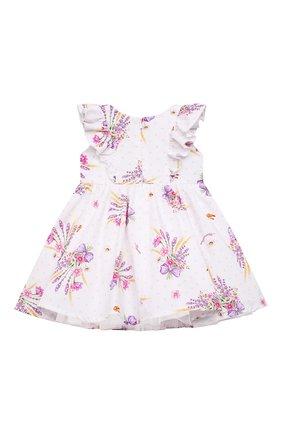 Женский хлопковое платье MONNALISA белого цвета, арт. 317912 | Фото 2