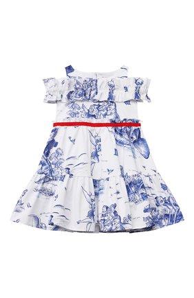 Детское хлопковое платье MONNALISA голубого цвета, арт. 117913   Фото 1 (Материал внешний: Хлопок; Рукава: Короткие; Случай: Повседневный; Девочки Кросс-КТ: Платье-одежда; Ростовка одежда: 2 года   92 см, 3 года   98 см, 4 года   104 см, 5 лет   110 см, 6 лет   116 см, 7 лет   122 см, 8 лет   128 см)