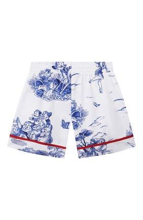 Детские хлопковые шорты MONNALISA голубого цвета, арт. 117416 | Фото 2