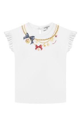 Детский хлопковая футболка MONNALISA белого цвета, арт. 317614SZ. | Фото 1 (Материал внешний: Хлопок; Рукава: Короткие; Ростовка одежда: 12 мес | 80 см, 18 мес | 86 см)