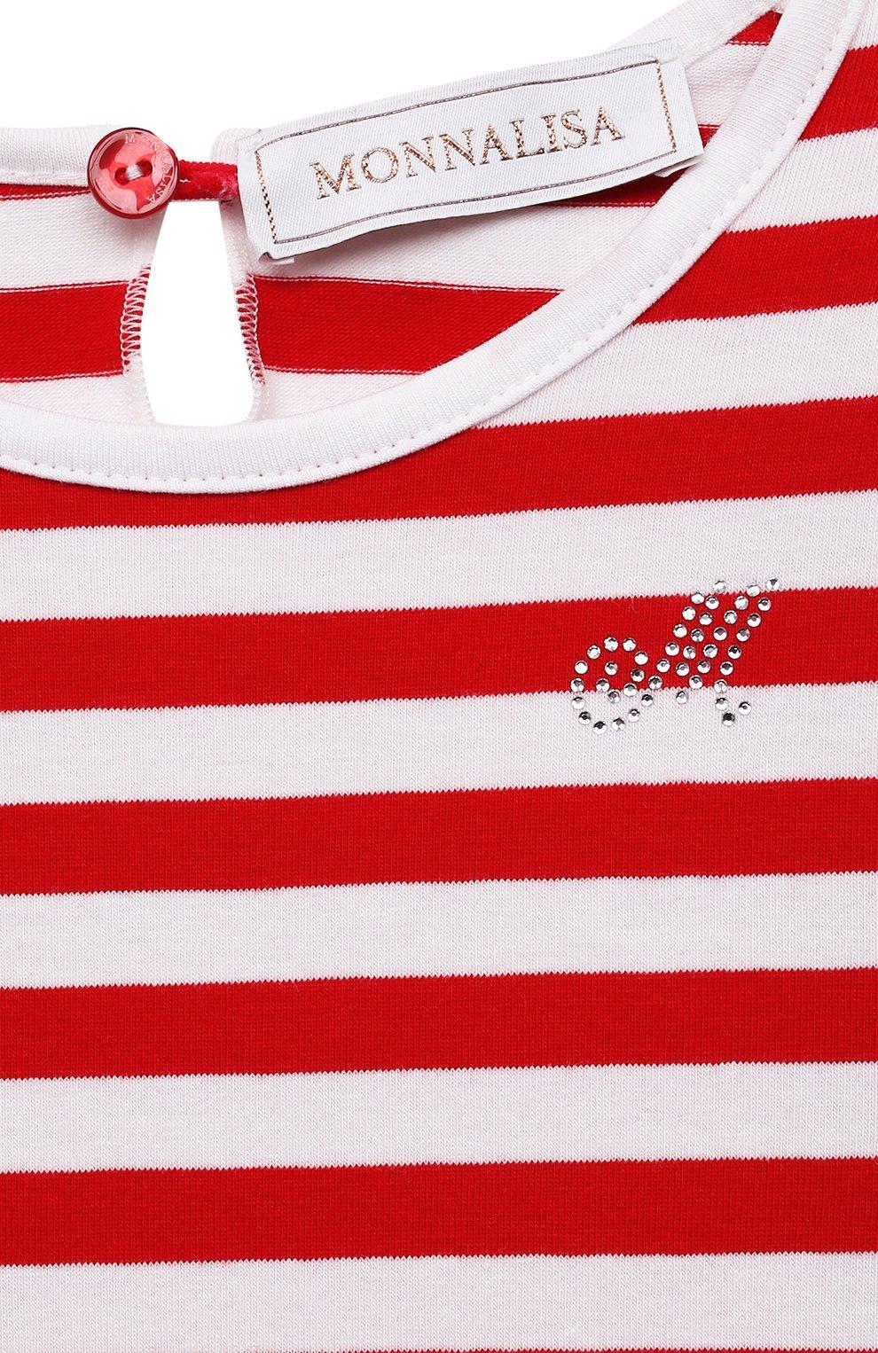 Детский хлопковая футболка MONNALISA разноцветного цвета, арт. 317611A1. | Фото 3