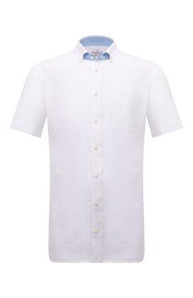 Мужская льняная рубашка VAN LAACK белого цвета, арт. R0Y-S-TF03W/155970 | Фото 1 (Рукава: Короткие; Стили: Кэжуэл; Рубашки М: Slim Fit; Принт: Однотонные; Материал внешний: Лен; Воротник: Button down; Случай: Повседневный; Длина (для топов): Стандартные)