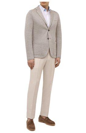 Мужская льняная рубашка VAN LAACK белого цвета, арт. R0Y-S-TF03W/155970 | Фото 2 (Рукава: Короткие; Стили: Кэжуэл; Рубашки М: Slim Fit; Принт: Однотонные; Материал внешний: Лен; Воротник: Button down; Случай: Повседневный; Длина (для топов): Стандартные)