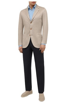 Мужская льняная рубашка VAN LAACK голубого цвета, арт. RADIL-TFW/155970 | Фото 2 (Стили: Кэжуэл; Материал внешний: Лен; Воротник: Button down; Манжеты: На пуговицах; Рубашки М: Regular Fit; Принт: Однотонные; Рукава: Длинные; Случай: Повседневный; Длина (для топов): Стандартные)