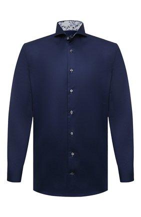 Мужская хлопковая сорочка VAN LAACK темно-синего цвета, арт. RES0-SF05C1N/150018 | Фото 1 (Случай: Формальный; Принт: Однотонные; Манжеты: На пуговицах; Рукава: Длинные; Материал внешний: Хлопок; Рубашки М: Slim Fit; Стили: Классический; Воротник: Акула; Длина (для топов): Стандартные)