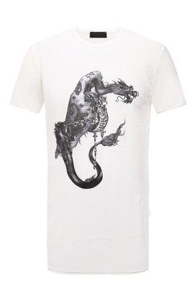 Мужская хлопковая футболка RH45 белого цвета, арт. JX23 | Фото 1 (Принт: С принтом; Материал внешний: Хлопок; Стили: Панк; Рукава: Короткие; Длина (для топов): Стандартные)